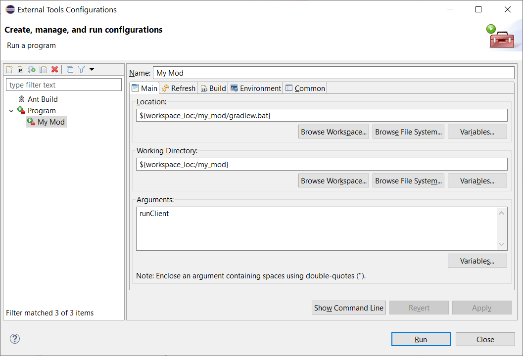 Example external tool configuration
