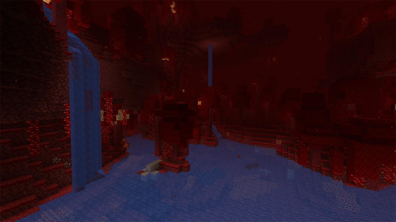 Screenshot of water in the Nether