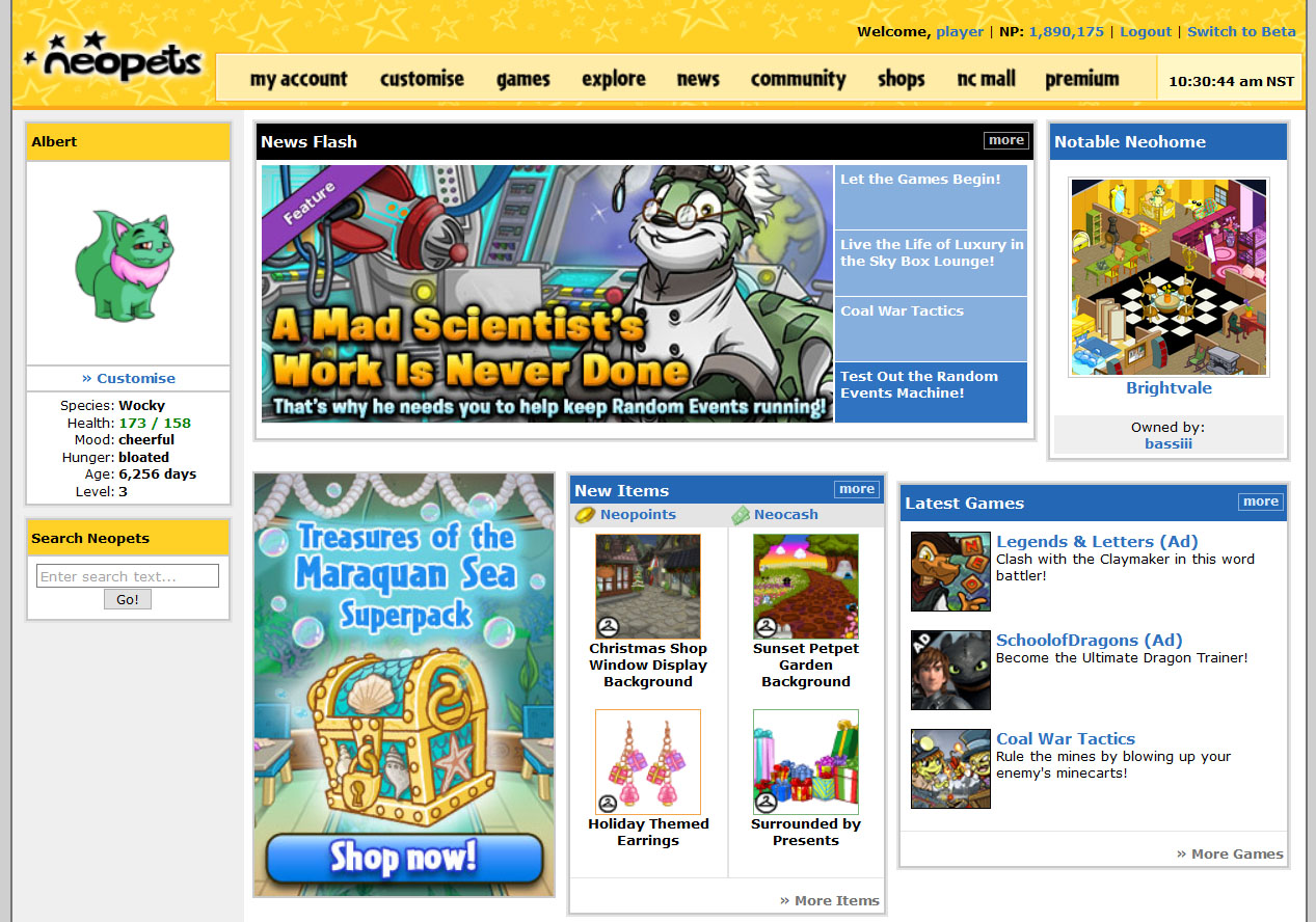 Neopets home page
